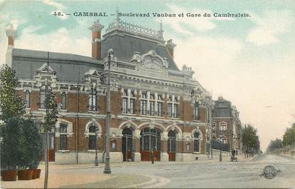 """CPA FRANCE 59 """"Cambrai, Bld Vauban et gare du Cambraisis"""""""