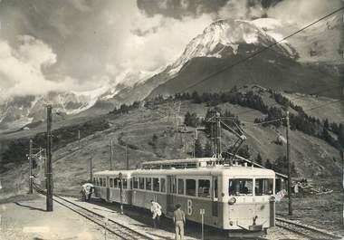 """CPSM FRANCE 74 """"St Gervais les Bains, Le TMB et l'Aiguille du Goûter vus du Col de Voza"""" / TRAIN"""