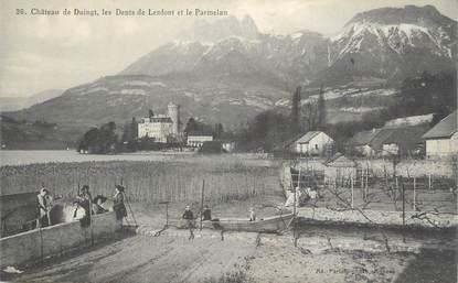 """CPA FRANCE 74 """" Duingt, Le château, les Dents de Lenfont et le Parmelan"""""""