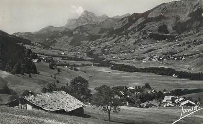 """CPSM FRANCE 74 """" Praz sur Arly, Vue générale et le Mont Charvin"""""""