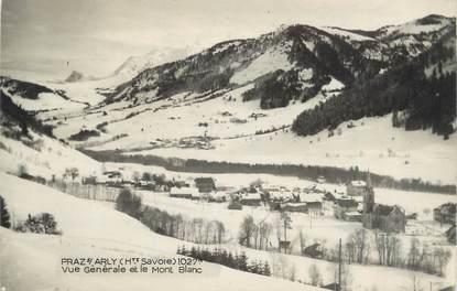 """CPSM FRANCE 74 """" Praz sur Arly, Vue générale et le Mont Blanc"""""""