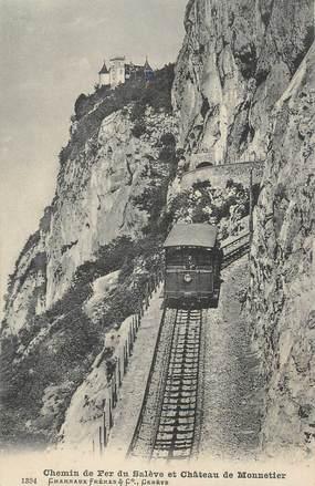 """CPA FRANCE 74 """"Le Salève, Le chemin de fer et le Château de Monnetier"""""""