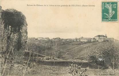 """CPA FRANCE 74 """"La Salette, Ruines du château et vue générale de Feigères"""""""