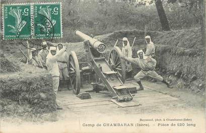 "CPA FRANCE 38 "" Chambaran, Pièce de 120 long au camp """