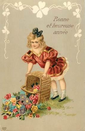 CPA  ENFANT / Petite fille renversant un panier de fleurs