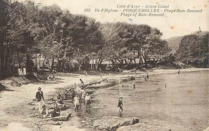 "CPA FRANCE 83 ""Ile de Porquerolles, La plage Bon Renaud"""