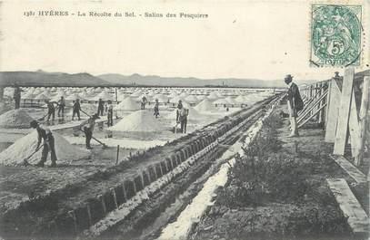 """CPA FRANCE 83 """"Hyères , La récole du sel aux Salins des Pesquiers"""""""