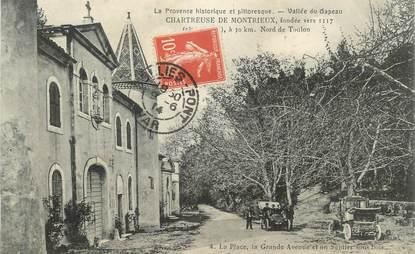 """CPA FRANCE 83 """" Chartreuse de Montrieux, La place, la grande avenue et un sentier sous bois'"""