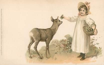 """CPA ENFANT """"Petite fille et le faon """"   /  Editeur AMB"""