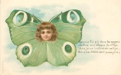 """CPA ENFANT  dessiné """"Enfant en papillon""""  / SURREALISME  /  Editeur AMB"""