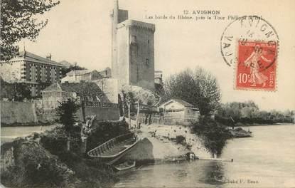 """CPA FRANCE 84 """" Avignon, Les bords du Rhône près de la Tour Philippe le Bel"""""""