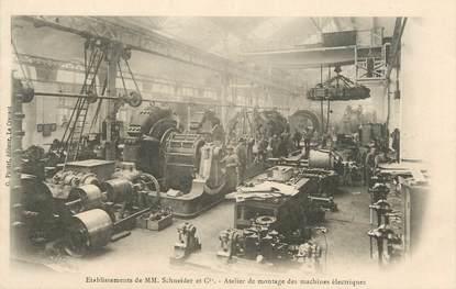"""CPA FRANCE 71 """" Le Creusot, Etablissements de Mrs Schneider et Cie, Atelier de montage des machines électriques"""""""