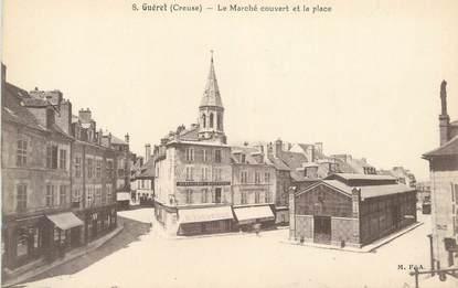 """CPA FRANCE 23 """" Guéret, Le marché couvert et la place"""""""