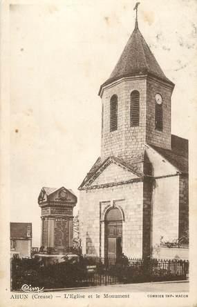 """CPA FRANCE 23 """" Ahun, L'église et le monument aux morts"""""""