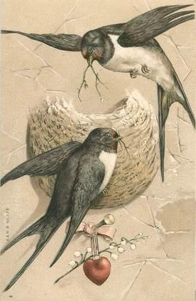 """CPA   FANTAISIE   """" oiseaux construisant leur nid""""  /  Editeur AMB"""