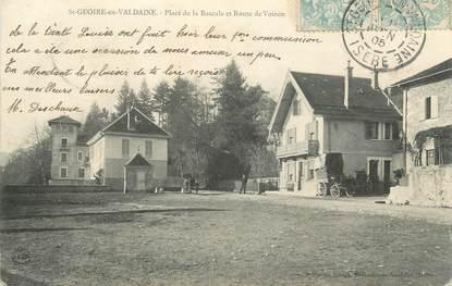 """CPA FRANCE 38 """"St Geoire en Valdaine, Place de la Bascule et Route de Voiron"""""""