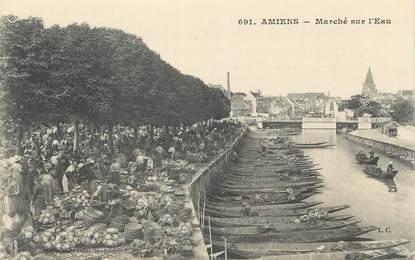 """CPA FRANCE 80 """" Amiens, Le marché sur l'eau"""""""