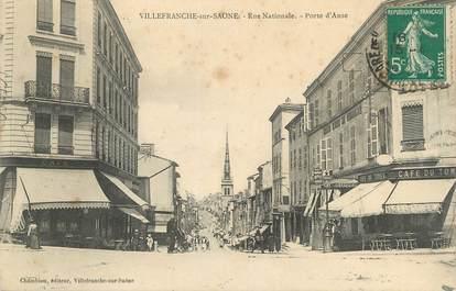 """CPA FRANCE 69 """" Villefranche sur Saône, Rue nationale, Porte d'Anse"""""""