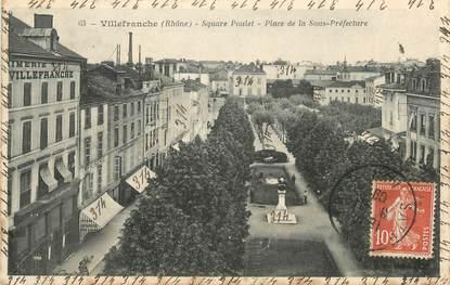 """CPA FRANCE 69 """" Villefranche sur Saône, Square Poulet, Place de la Sous- Préfecture"""""""