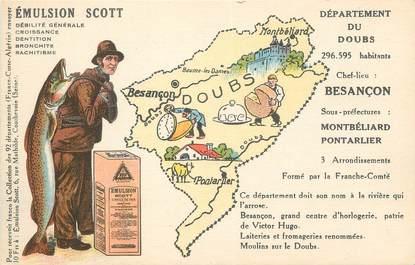 """CPA FRANCE 25 """" Carte géographique du Doubs"""""""