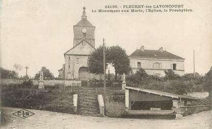 """CPA FRANCE 70 """" Fleurey les Lavoncourt, Le monument aux morts, l'église et le presbytère"""""""