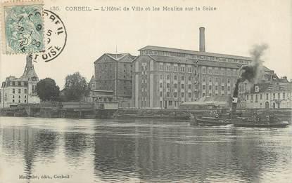 """CPA FRANCE 91 """" Corbeil, L'Hôtel de Ville et les Moulins sur la Seine"""""""