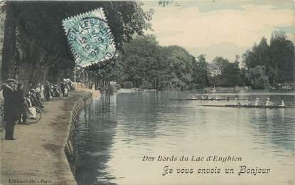 """CPA FRANCE 95"""" Enghien les Bains, Les bords du lac"""""""
