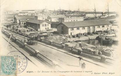 """CPA ALGERIE """"Alger, La douane et les compagnies de bâteaux à vapeur""""/ GEISER"""