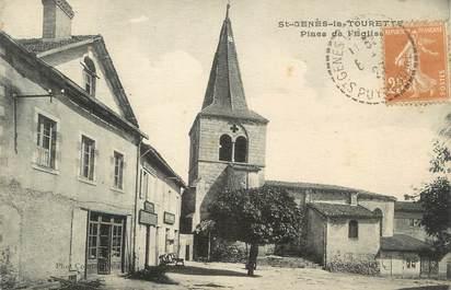 """CPA FRANCE 63 """" St Genès la Tourette, Place de l'église"""""""