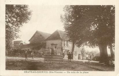 """CPA FRANCE 87 """"Chateau Chervix, Un coin de la place"""""""