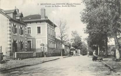 """CPA FRANCE 87 """"Mezières sur Issoire, Route de Bellac, Ecoles de filles"""""""