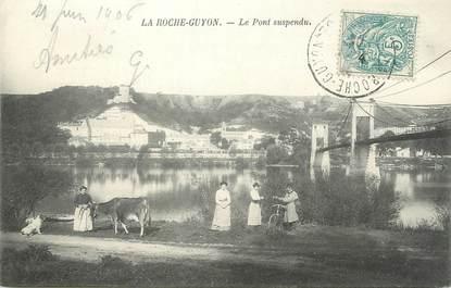 "CPA FRANCE 95 ""La Roche Guyon, Le pont suspendu'"