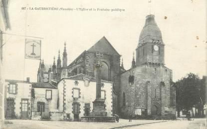 """CPA FRANCE 85 """"La Gaubretière, L'église et la fontaine publique"""""""