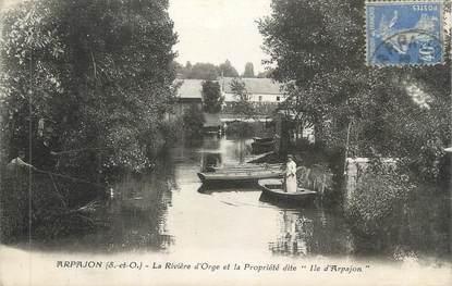 """CPA FRANCE 91 """" Arpajon, La Rivière d'Orge et la Propriété dite Ile d'Arpajon"""""""
