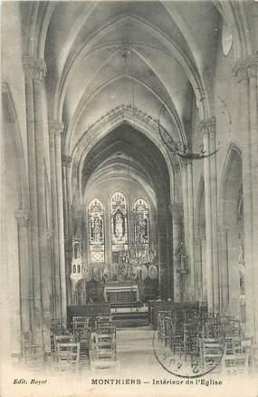 """CPA FRANCE 02 """"Monthiers, intérieur de l'Eglise"""""""