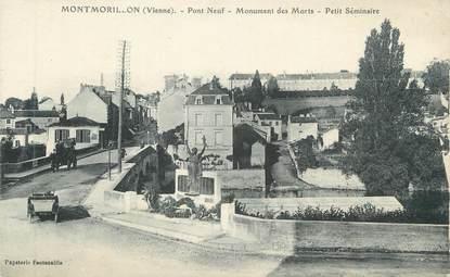 """CPA FRANCE 86 """" Montmorillon, Pont neuf, Monument aux morts, Petit séminaiire"""""""