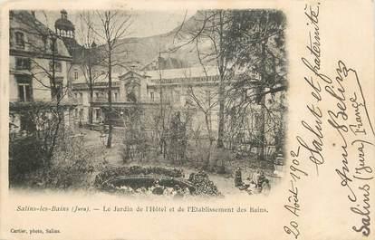 """/ CPA FRANCE 39 """"Salins les Bains, le jardin de l'hôtel et de l'établissement des bains"""""""