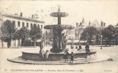 """CPA FRANCE 69 """" Villefranche sur Saône, Fontaine Place du Promenoir"""""""