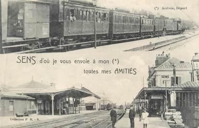 """CPA FRANCE 89 """" Sens, Gare et trains"""""""