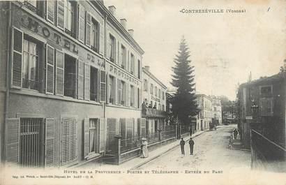 """CPA FRANCE 88 """" Contrexéville, Hôtel de la Providence, Postes et télégraphes, Entrée du parc"""""""