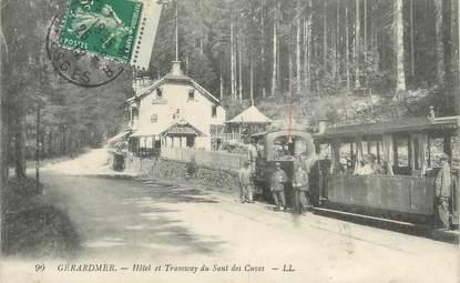 "CPA FRANCE 88 "" Gérardmer, Hôtel et tramway du Saut des Cuves"" / TRAMWAY"