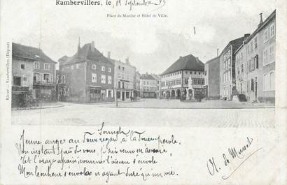 """CPA FRANCE 88 """" Rambervillers, Place du Marché et Hôtel de Ville"""""""