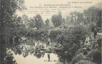 """CPA FRANCE 88 """" Saulxures sur Moselotte, Coin champêtre de la Moselotte et passerelle"""""""
