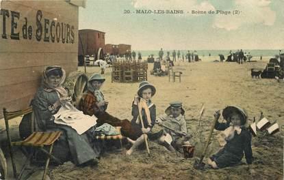 """CPA FRANCE 59 """"Malo les Bains, scène de plage"""""""