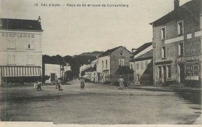 """CPA FRANCE 88 """" Le Val d'Ajol, Place du So et Route de Corravillers""""'"""