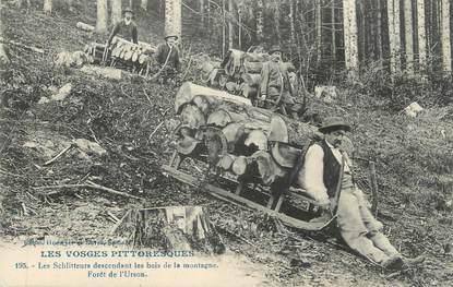 """CPA FRANCE 88 """" Les Schlitteurs descendant les bois de la montagne, Forêt de l'Urson"""""""