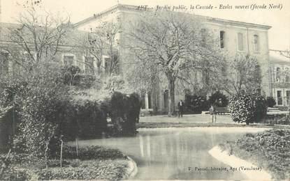 """CPA FRANCE 84 """"Apt, Le jardin public, la cascade, écoles neuves"""""""