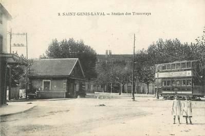 """CPA FRANCE 69 """" St Genis Laval, Station des Tramways"""" / TRAMWAY"""