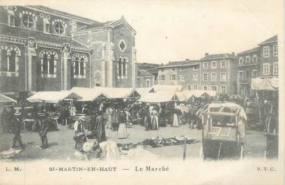 """CPA FRANCE 69 """" St Martin en Haut , Le marché"""""""