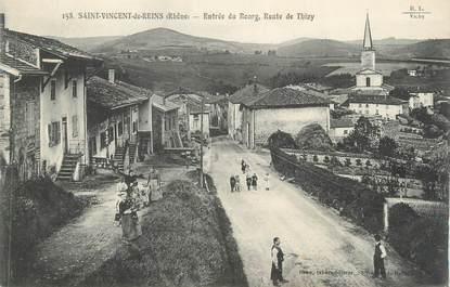 """CPA FRANCE 69 """" St Vincent de Reins, Entrée du bourg, Route de Thizy"""""""